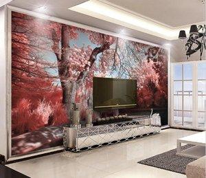 Herhangi Resimleri 3D Pembe Güzel Orman Gölü Swan Wallpaper Fotoğraf Salon TV Sofa Hotel Arkaplan Duvar kağıdı Ev Dekorasyonu
