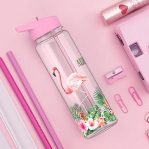 Flamingolar Baskı Benim İçecek Suyu Kol The Unicorn Kettle ile BPA 750ml Spor açık Straw Su Şişesi