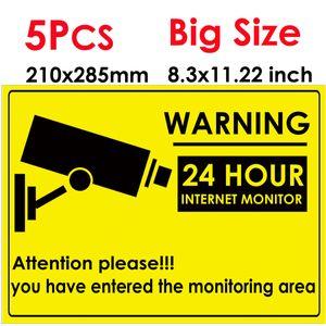 5pcs 24 HOUR CCTV Security Camera System Warning Sign Sticker Decal Surveillance CCTV Camera Video Warning Sticker big size 285x