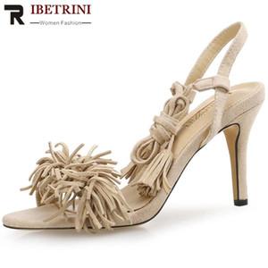 RIBETRINI Bonjomarisa dulce de las mujeres superficiales Summe los zapatos de las mujeres altos abrigo del tobillo sandalias 2020 sandalias de verano elegante de la franja