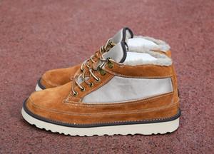(С коробкой) Top MEN Австралия BOOTS Хайленд поле Загрузочный замша зимние ботинки шерсти обувных мужские классические сапоги ремни серии NEWM теплый мини ботинок