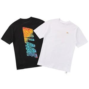PAC Farbverlauf Brief Logo Druck T Retro High Street Fashion Rundhals Kurzarm Männer Frauen Paar Übergroßen T-shirt HFSSTX128