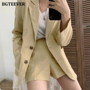 BGTEEVER Chic Pantalon Femmes Costume Blazer boutonnage simple taille élastique Shorts 2020 Eté Coton et Lin 2 Set Pieces Femme