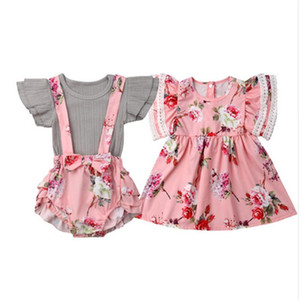 2019 Cute Baby Girl Clothes Toddler Kids Floral Print Dress Infant Romper Overall Tops+Bib Shorts Set Sister Cotton Clothes 0-4T