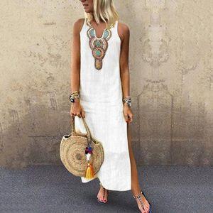 2020 Boho Women White Vintage Split White Plus Summer Vacation Party длинное платье макси без рукавов сарафан кафтан платье S-4XL Азиатский размер