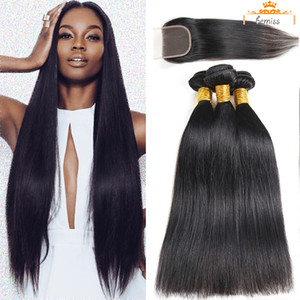 100% Brazilian Hair with Closure Straight Human Hair with Frontal Unprocessed Raw Virgin Human Hair Extensions Peruvian Malaysian Cambodian