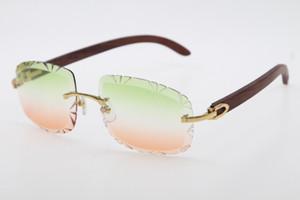 Livraison gratuite vente Rimless lunettes diamant Cut Fashion bois Lunettes de soleil 3524012-B de haute qualité C Décoration Lunettes Métal masculin et féminin