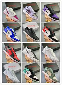 2019 Yeni 1 1 s Düşük OG Couture Siyah Kırmızı 22 Renkler yüksek Kaliteli erkek Kadınlar Için Basketbol Ayakkabıları Atletik Spor Sneakers Eğitmenler Boyutu 36-45