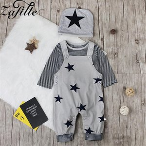 ZAFILLE Baby Boy Clothes Set 3Pcs Long Sleeve Stripe Top+Star Printed Overalls+Hat Outfit For Boys Toddler Kids Clothes Boy Suit