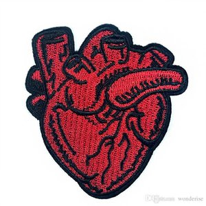 Red Heart Embroidery Patches Sewing Iron On Applique Badge Clothes Patch For Jackets Jeans Garment Bag T-shirt Decoration