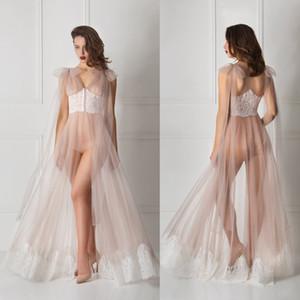 Albornoz encaje de tul transparente con mangas largas de encaje de las mujeres ropa de noche atractiva 2020 camisones de novia con el hogar Ropa