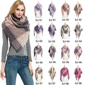 Yumuşak Kadınlar Ekose Eşarp Moda Kış Sıcak Örme Üçgen Eşarplar Kadın Klasik Kafes Şal Wrap LJJT1609 Blanket