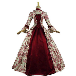 Последние S-5XL Женщина Vintage Средневековая платье партии Элегантная принцесса костюмы викторианской Белл рукавом Цветочные Вечерние платья