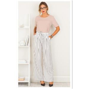 Fashion Woman's Pants Concise style stripe belt wide leg pants stripe fashion nine minutes pants 2 Colores selectd Size S-XL