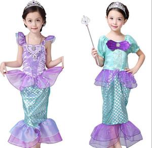 Filles Petite Sirène Princesse Robe Costumes Cosplay pour enfants bébé sirène habiller les enfants Halloween Vêtements sirène robe LJJK2027