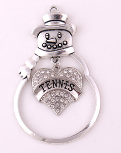 ZO15 Christmas Gift Jewelry Center of Metal SnowMan Hang Crystal Heart TENNISS christmas ornament pendant Ready to Hang & Gift Boxed