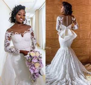 Royal Gorgeous Wedding Dresses Vintage African Long Sleeves Mermaid Bridal Gowns With Detachable Train Lace Applique Plus Size Bridal Gown