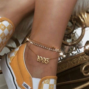 Stainless Steel Birth Year Anklets Gold Old English Year Number 1995 Anklet Bracelet Foot Chain Party Accessories Gift 1988-2006 in stock