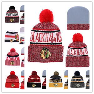 Bonnets Chapeaux CHICAGO BLACKHAWKS Hockey Bonnets En Tricot De Bonnet Nashville Predators Brodé Chapeaux Cousus Taille Unique livraison gratuite