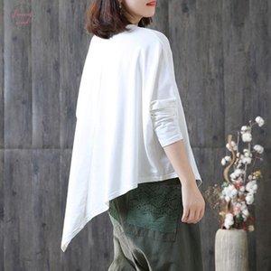 Spring O For Shirts Tops Neck Korean Women Loose Sleeve Batwing Asymmetric Hem Oversize 2019 Female T Fashion Tide Jlwlr