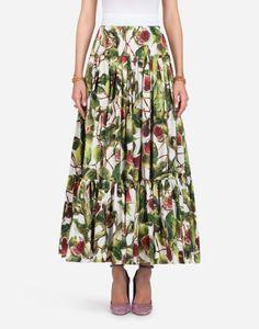 Personalizar a mulheres Plus Size 3XS-10XL cintura alta Fruit Impressão Maxi longo Tornozelo de comprimento saia de uma linha