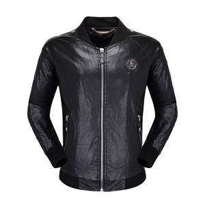 designer de mens crânios do falso jaqueta de couro da moda hip hop roupas de marca casaco Casual inverno alta qualidade motociclista homem luxo jaqueta tamanho M-3XL