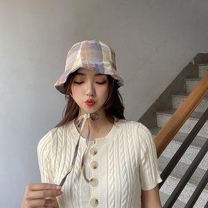 2pcs Lot Korea Fashion Colorful Plaid Fisherman Hat Summer Cotton Bandage Dome Hat For Women Travel Casual Caps Head Wear Accessories