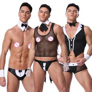 블랙 화이트 남성 섹시한 웨이터 롤 플레잉 란제리 세트 하인 할로윈 코스프레 제복 이국적인 나이트 클럽 테마 파티 Clubwear