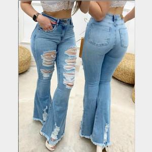 2020 Осень Длинные Расклешенные Джинсы Женщины Испания Высокая Талия Джинсовые Длинные Брюки Для Женской Уличной Одежды Lady Bottoms Elegent America