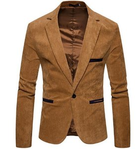 V-Ausschnitt Langarm-Männer Corduroy Blazer Mode Single Button Solid Color Herren-Anzüge Jacke Frühling Männlich Kleidung