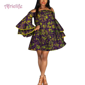 2019 Fashion New Summer African Dresses for Women Dresses Bazin Riche Wax Print Party Strapless Dress For Girls WY4267