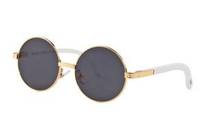 Luxus-Designer-Sonnenbrillen für Frauen - Vollrandlose Herren-Büffelhorn-Brille mit runder Linse Gold-Metall-Büffelsonnenbrille mit Etui