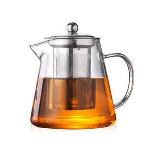 Haute théière en verre résistant à la chaleur de borosilicate transparent kungfu thé ensemble théière en acier inoxydable filtre fleur théière fabricants en gros