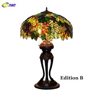 FUMAT Verre Art Lampe Européenne de Haute Qualité Vitrail Verre Teinté Raisin Lampe De Table Salon Salon Lampe De Chevet Bar Lumière Fixtrues