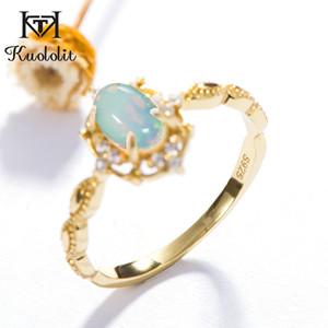 Kuololit Natural Opal piedras preciosas anillos para mujeres plata de ley 925 fuego piedra color amarillo anillo compromiso boda joyería fina Y19051602