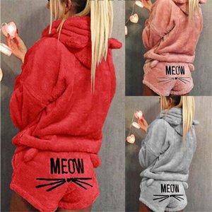 Fashion Winter Warm Women Coral Fleece Pajama Sets Furry Cute Cat Long Sleeve Hoodie Top Shorts 2Pcs Sleepwear Pajamas Set