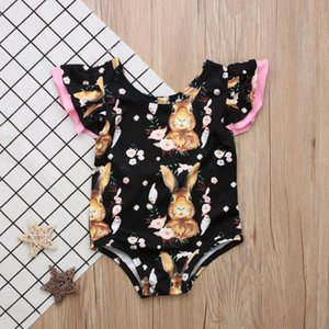 Newborn Infant Bodysuit Easter Rabbit Bunny Romper Baby Girls Boys Ruched girl clothes Kawaii Outfit Pajamas Summer Clothing
