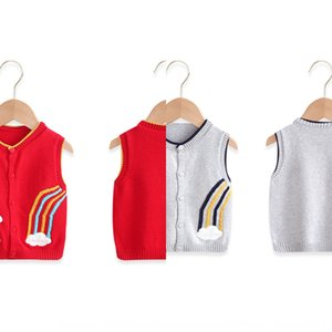 Boys' and girls' clip baby knitted vest cardigan autumn clothes cotton baby waistcoat tide Autumn Sweater vest sweater