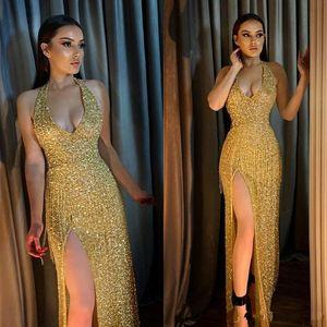 2020 GoldPaillette Hüllen-Abschlussball-Kleid mit V-Ausschnitt Sexy Abendkleider Knöchel-Längen-Side Split-Cocktailparty-Kleider