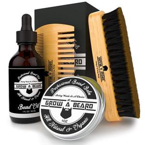 MOQ 200pcs Amazon Hot Sale Custom LOGO Beard Care Kits Beard Brush Mustache Combs Beard Oil & Balm (Wax)in Gift Box & Bag