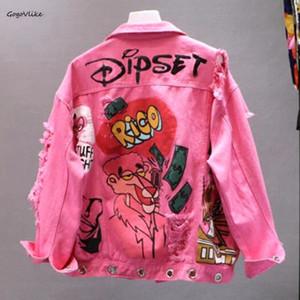 Harajuku Rosa / Amarelo Denim Jacket Mulheres Graffiti Holes Ripped Jeans Casacos New Estudantes Básico Coats Outfit