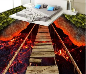Pvc 3d suelo foto personalizada piso impermeable etiqueta de la pared emocionante puente de cuerda volcánica lava decoración papel tapiz de la sala para paredes 3 d