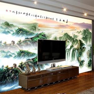 Great Sofa Fond Fond Mur Natural Living Murales Fond d'écran Peinture Papier peint Paysage Grand TV 3D Chinois Vojtl