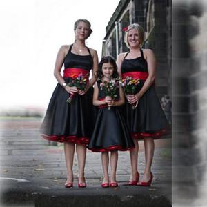 Vintage noir et rouge satin Halter robes de demoiselle d'honneur avec Bretelle manches dos nu longueur au genou élégante demoiselle d'honneur junior