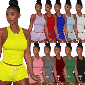 Women Tracksuit Summer Two Piece Set Sleeveless Tops+Shorts Solid Color Sports Suit Fashion Outfits Crew Neck Jogging Suit 2994