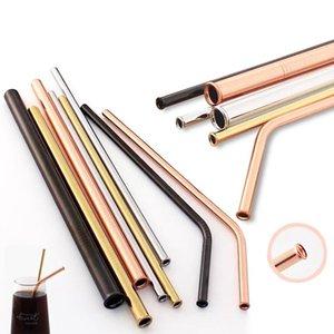 Aço inoxidável reutilizável beber palhetas coloridas à prova de riscos metal palha partido Home Barware Bar Acessórios DDA75