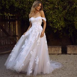 Кружева свадебные платья 2019 с плеча Appliques A Line Bride платье принцесса свадебное платье халат де Марие