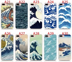 For Samsung Galaxy S10 S9 S8 Plus S10 Lite S7 Edge S6 Edge Plus S5 Soft TPU Print pattern Cartoon Wave Art Japanese High quality phone cases