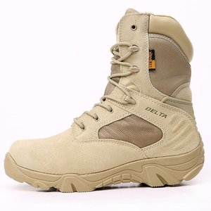 Men Outdoor Shoes Desert Boots Top Quality Delta Tactical Combat Mountaineering Climbing Work & Safety Boots Shoes High Low Cut Sand Black