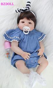 BZDOLL 55cm Full Silicone Body Reborn Baby Doll Toy Like Real 22inch Newborn Girl Princess Babies Doll Bathe Toy Kid Gift MX200414